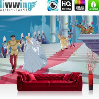 liwwing Fototapete 368x254 cm PREMIUM Wand Foto Tapete Wand Bild Papiertapete - Disney Tapete Cinderella Kindertapete Märchen Prinz Treppe Schloss Hochzeit weiß - no. 1365
