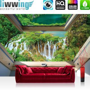 liwwing Vlies Fototapete 416x254cm PREMIUM PLUS Wand Foto Tapete Wand Bild Vliestapete - Wasser Tapete Wasserfall See Fluss Wald natural - no. 3302