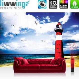 liwwing Vlies Fototapete 312x219cm PREMIUM PLUS Wand Foto Tapete Wand Bild Vliestapete - Meer Tapete Leuchtturm Strand Wasser Meer Vögel blau - no. 1329