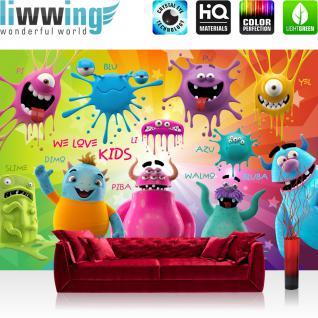 liwwing Vlies Fototapete 300x210 cm PREMIUM PLUS Wand Foto Tapete Wand Bild Vliestapete - LOVELY MONSTERS - Kinderzimmer Kindertapete Comic Party Knuddel Monster - no. 092