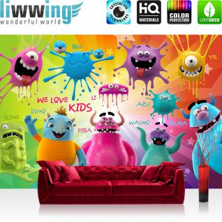 liwwing Vlies Fototapete 400x280 cm PREMIUM PLUS Wand Foto Tapete Wand Bild Vliestapete - LOVELY MONSTERS - Kinderzimmer Kindertapete Comic Party Knuddel Monster - no. 092
