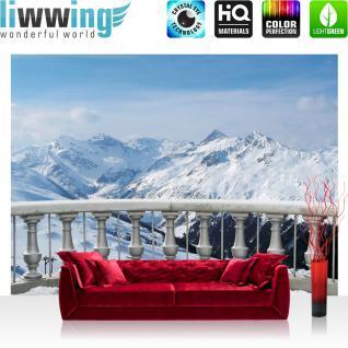 liwwing Vlies Fototapete 104x50.5cm PREMIUM PLUS Wand Foto Tapete Wand Bild Vliestapete - Landschaft Tapete Alpen Schnee Balkon Winter blau - no. 2853