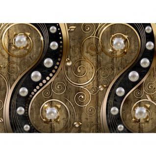 liwwing Vlies Fototapete 208x146cm PREMIUM PLUS Wand Foto Tapete Wand Bild Vliestapete - Illustrationen Tapete Perlen Holzwand Holz Blumen Metalloptik Formen gold - no. 1263 - Vorschau 2
