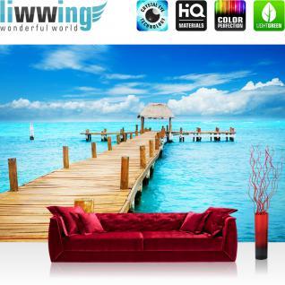 liwwing Vlies Fototapete 400x280 cm PREMIUM PLUS Wand Foto Tapete Wand Bild Vliestapete - Strand Meer Nordsee Ostsee Beach Wasser Blau Himmel Sonne Sommer - no. 159