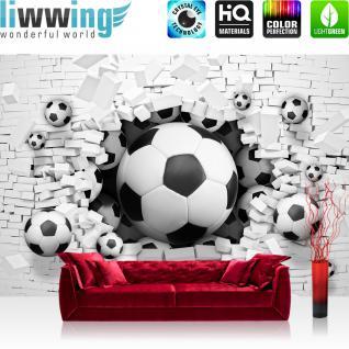 liwwing Vlies Fototapete 152.5x104cm PREMIUM PLUS Wand Foto Tapete Wand Bild Vliestapete - Steinwand Tapete Fußball Steinwand Steinoptik Steine weiß - no. 1536