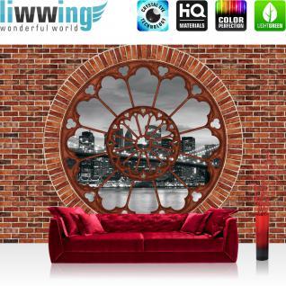 liwwing Vlies Fototapete 416x254cm PREMIUM PLUS Wand Foto Tapete Wand Bild Vliestapete - Steinwand Tapete Steinoptik Steine Fenster Skyline Lichter Brücke rot - no. 1991