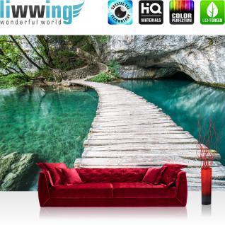 liwwing Vlies Fototapete 300x210 cm PREMIUM PLUS Wand Foto Tapete Wand Bild Vliestapete - Natur Wasser Holzweg - no. 268