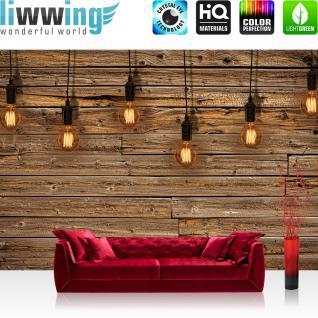 liwwing Vlies Fototapete 208x146cm PREMIUM PLUS Wand Foto Tapete Wand Bild Vliestapete - Holz Tapetewand Holz Wand Leisten Bretter Glühbirnen Licht braun - no. 1281