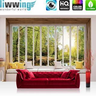 liwwing Vlies Fototapete 208x146cm PREMIUM PLUS Wand Foto Tapete Wand Bild Vliestapete - Wald Tapete Wasserfall Bach Laubwald Fenster natural - no. 3432