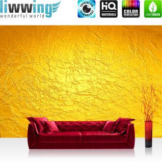 liwwing Fototapete 254x168 cm PREMIUM Wand Foto Tapete Wand Bild Papiertapete - Kunst Tapete Abstrakt Knitter Falten Design Muster Papier gelb - no. 2345