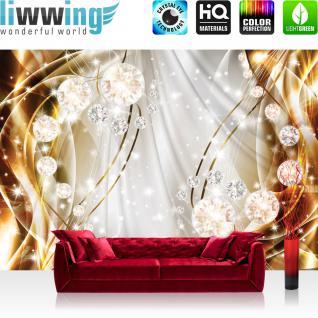 liwwing Vlies Fototapete 254x184cm PREMIUM PLUS Wand Foto Tapete Wand Bild Vliestapete - Ornamente Tapete Perlen Diamanten Wellen gold - no. 3312