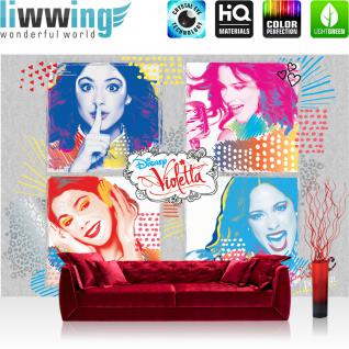liwwing Fototapete 254x168 cm PREMIUM Wand Foto Tapete Wand Bild Papiertapete - Disney Tapete Disney - Violetta Kindertapete Mädchen Singen Musik bunt - no. 502