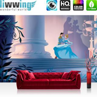 liwwing Fototapete 368x254 cm PREMIUM Wand Foto Tapete Wand Bild Papiertapete - Kindertapete Tapete Disney Aschenputtel Cinderella Kindertapete Prinz petrol - no. 2654