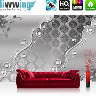 liwwing Vlies Fototapete 416x254cm PREMIUM PLUS Wand Foto Tapete Wand Bild Vliestapete - Ornamente Tapete Illustration Ranke Muster Metalloptik grau - no. 2840
