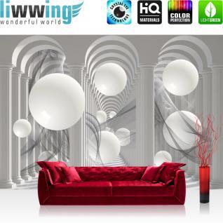 liwwing Vlies Fototapete 416x254cm PREMIUM PLUS Wand Foto Tapete Wand Bild Vliestapete - Kunst Tapete Design Säulen Kugeln grau - no. 2905