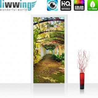Türtapete - Way in my Garden Garten Terrasse Blumenranken Blume 3D Perspektive | no. 47 - Vorschau 2