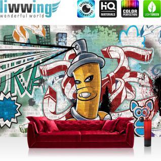 liwwing Vlies Fototapete 350x245 cm PREMIUM PLUS Wand Foto Tapete Wand Bild Vliestapete - Graffiti Tapete Kindertapete Dose Sprayer bunt - no. 339