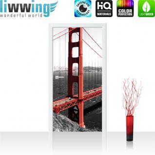 liwwing Vlies Türtapete 91x211 cm PREMIUM PLUS Tür Fototapete Türposter Türpanel Foto Tapete Bild - Golden Gate Bridge Wasser - no. 429