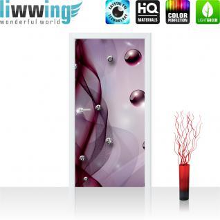 liwwing Vlies Türtapete 91x211 cm PREMIUM PLUS Tür Fototapete Türposter Türpanel Foto Tapete Bild - Abstrakt Netz Perle Murmel Diamant - no. 800