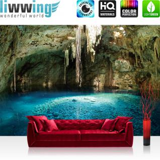 liwwing Fototapete 368x254 cm PREMIUM Wand Foto Tapete Wand Bild Papiertapete - Natur Tapete Höhle Wasser Felsen Steine ocker - no. 2228