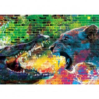 Fototapete Graffiti Tapete Steinwand Steine Graffiti Tiere Krokodil Löwe Wasser bunt | no. 1918