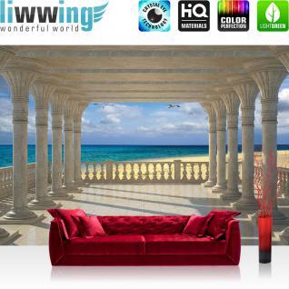 liwwing Fototapete 368x254 cm PREMIUM Wand Foto Tapete Wand Bild Papiertapete - Meer Tapete Strand Marmor Säulen Vögel Horizont beige - no. 2611