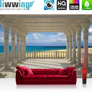 liwwing Vlies Fototapete 312x219cm PREMIUM PLUS Wand Foto Tapete Wand Bild Vliestapete - Meer Tapete Strand Marmor Säulen Vögel Horizont beige - no. 2611
