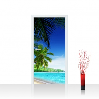 Türtapete - Paradise Beach Strand Meer Palmen Beach 3D Ozean Palme   no. 5