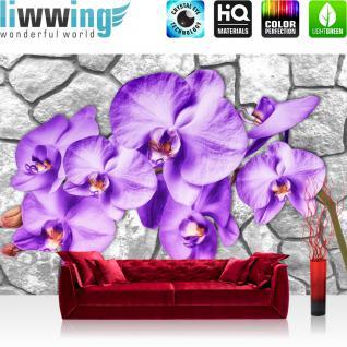 liwwing Vlies Fototapete 104x50.5cm PREMIUM PLUS Wand Foto Tapete Wand Bild Vliestapete - Steinwand Tapete Steinoptik Blumen Blüten Blätter Orchideen grau - no. 2863