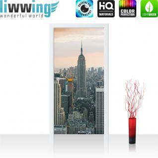 liwwing Vlies Türtapete 91x211 cm PREMIUM PLUS Tür Fototapete Türposter Türpanel Foto Tapete Bild - Building Tower Skyline - no. 325