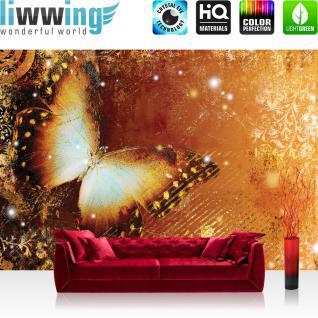 liwwing Vlies Fototapete 350x245 cm PREMIUM PLUS Wand Foto Tapete Wand Bild Vliestapete - Kunst Tapete Ornamente Schmetterling orange - no. 460