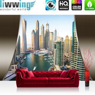 liwwing Vlies Fototapete 400x280 cm PREMIUM PLUS Wand Foto Tapete Wand Bild Vliestapete - Skylines Tapete Skyline Hafen Tower Hafen Yacht grau - no. 623