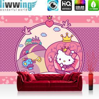 liwwing Fototapete 368x254 cm PREMIUM Wand Foto Tapete Wand Bild Papiertapete - Mädchen Tapete Hello Kitty - Kindertapete Cartoon Katze Krone Schloss Märchen pink - no. 516