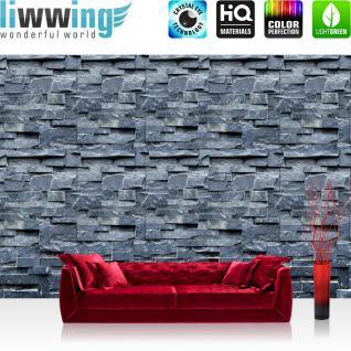 liwwing Vlies Fototapete 416x254cm PREMIUM PLUS Wand Foto Tapete Wand Bild Vliestapete - Steinwand Tapete Steinoptik Steine Blöcke anthrazit - no. 2464
