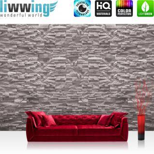 liwwing Fototapete 368x254 cm PREMIUM Wand Foto Tapete Wand Bild Papiertapete - Steinwand Tapete Steinoptik Stein kleine Steine 3D Optik grau - no. 2358