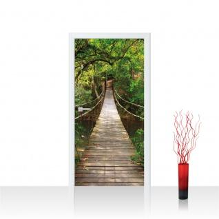 Türtapete - Natur Dschungel Brücke Seil Holz Fluss | no. 4254