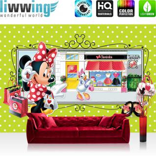 liwwing Vlies Fototapete 400x280 cm PREMIUM PLUS Wand Foto Tapete Wand Bild Vliestapete - Disney Tapete Disney - Mickey Mouse - Minnie Kindertapete Cartoon Tasche kleine Maus rosa - no. 1068