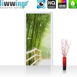 liwwing Türtapete selbstklebend 100x211 cm PREMIUM PLUS Tür Fototapete Türposter Türpanel Foto Tapete Bild - BAMBOO WALK - Bambusweg Bambuswald Dschungel Asia Asien Bamboo Way Wald - no. 002
