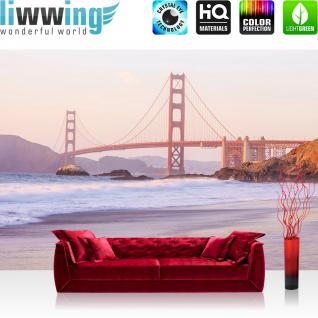 liwwing Vlies Fototapete 416x254cm PREMIUM PLUS Wand Foto Tapete Wand Bild Vliestapete - Brücken Tapete Golden Gate Bridge Strand natural - no. 3530