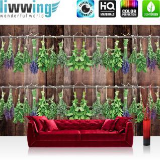 liwwing Fototapete 368x254cm PREMIUM Wand Foto Tapete Wand Bild Papiertapete - Pflanzen Tapete Kräuter Holzwand braun - no. 3203