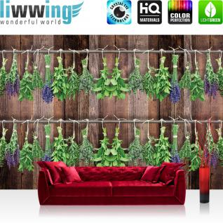 liwwing Vlies Fototapete 312x219cm PREMIUM PLUS Wand Foto Tapete Wand Bild Vliestapete - Pflanzen Tapete Kräuter Holzwand braun - no. 3203