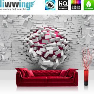 liwwing Vlies Fototapete 312x219cm PREMIUM PLUS Wand Foto Tapete Wand Bild Vliestapete - Steinwand Tapete Stein Steinoptik Steine Durchbruch Loch Kugel 3D Optik weiß - no. 1523