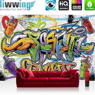liwwing Fototapete 368x254 cm PREMIUM Wand Foto Tapete Wand Bild Papiertapete - Graffiti Tapete Kindertapete Dose Sprayer bunt - no. 341