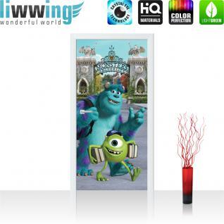 liwwing Türtapete selbstklebend 91x211 cm PREMIUM PLUS Tür Fototapete Türposter Türpanel Foto Tapete Bild - DISNEY Monster Uni Kindertapete Cartoon Monster Bücher - no. 965