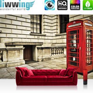 liwwing Vlies Fototapete 416x254cm PREMIUM PLUS Wand Foto Tapete Wand Bild Vliestapete - London Tapete London Vintage Telefonzelle rot - no. 1346