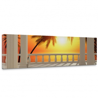Leinwandbild Terrace View Romantic Sunset Meer Strand Beach Sonnenuntergang Palmen | no. 123