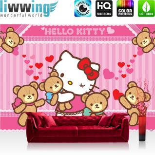 liwwing Fototapete 368x254 cm PREMIUM Wand Foto Tapete Wand Bild Papiertapete - Mädchen Tapete Hello Kitty - Kindertapete Cartoon Katze Herzen Schleife Mädchen pink - no. 1030