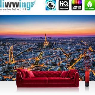 liwwing Vlies Fototapete 416x254cm PREMIUM PLUS Wand Foto Tapete Wand Bild Vliestapete - Frankreich Tapete Paris Eifelturm Nacht Frankreich blau - no. 1345