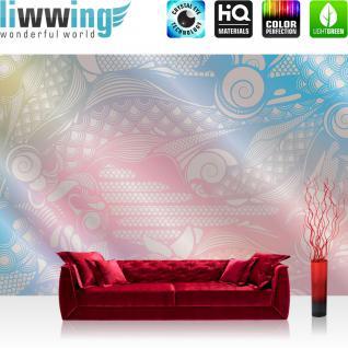 liwwing Vlies Fototapete 350x245 cm PREMIUM PLUS Wand Foto Tapete Wand Bild Vliestapete - Ornamente Tapete Muster weiß grau weiß - no. 353