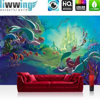 liwwing Vlies Fototapete 312x219cm PREMIUM PLUS Wand Foto Tapete Wand Bild Vliestapete - Disney Tapete Arielle Meerjungfrau Meerestiere unter Wasser Meer bunt - no. 1349